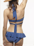 FINAL SALE: Ariel Ruffled Bottom in Stargate Blue, Black, and Midnight