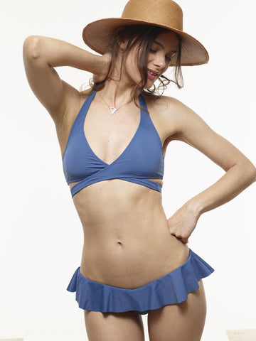 25% OFF: Karolina Wrap Swim Top in Stargate Blue
