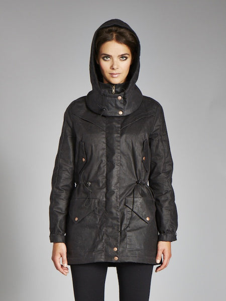 The KAITLIN Waxed Winter Coat - Coal & Berry [soldout]