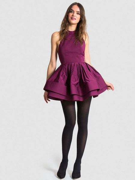 FINAL SALE: The PEMA Party Dress in Satin - Eggplant