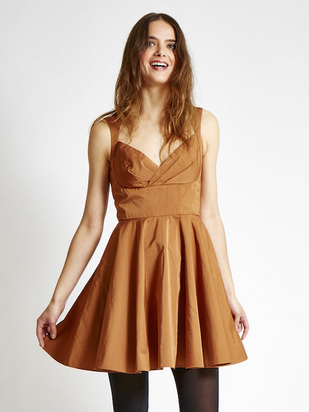 FINAL SALE: The AUDRE Sweetheart Dress in Satin - Gold