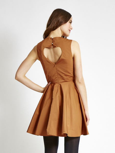 The AUDRE Sweetheart Dress in Satin - Gold