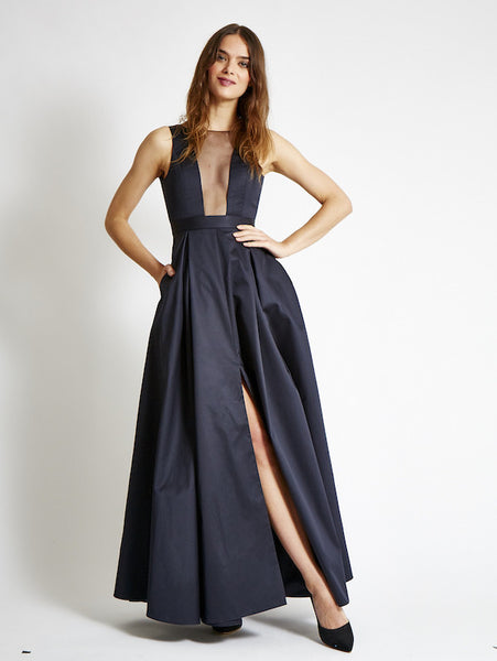 FINAL SALE: The OLIVER Gown in Satin - Midnight