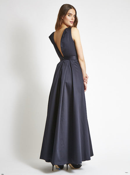 The OLIVER Gown in Satin - Midnight