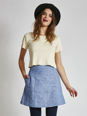 15% OFF: A-Line Skirt in Organic Linen & Cotton