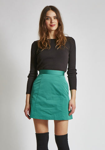 15% OFF: VAUTE A-Line Skirt in Emerald Satin