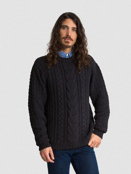The FW16 Aran Sweater in Black on Him
