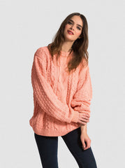 SHIPS NOW 25% OFF: VAUTE Vegan Aran Sweater - Apricot