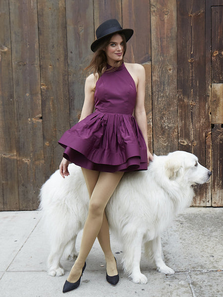 The PEMA Party Dress in Satin - Eggplant