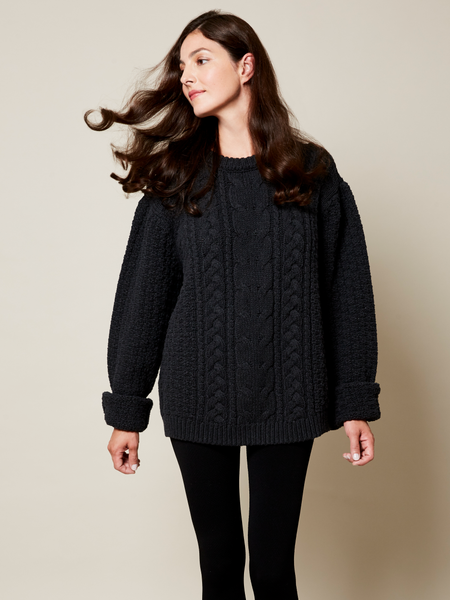 Preorder: The Aran Sweater in Black on Her