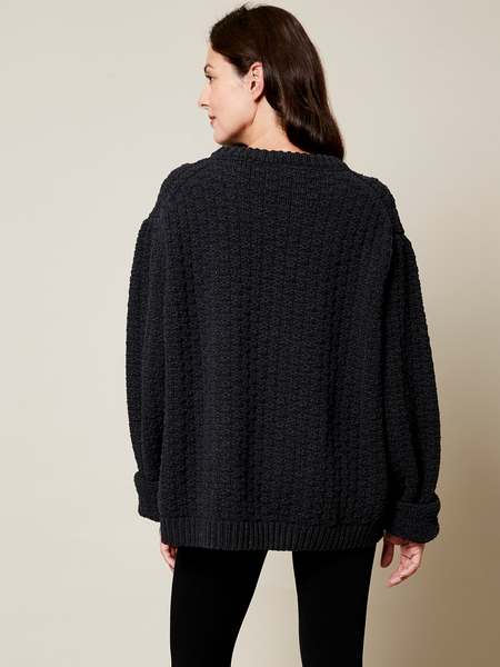 The Gender Neutral Aran Sweater in Black