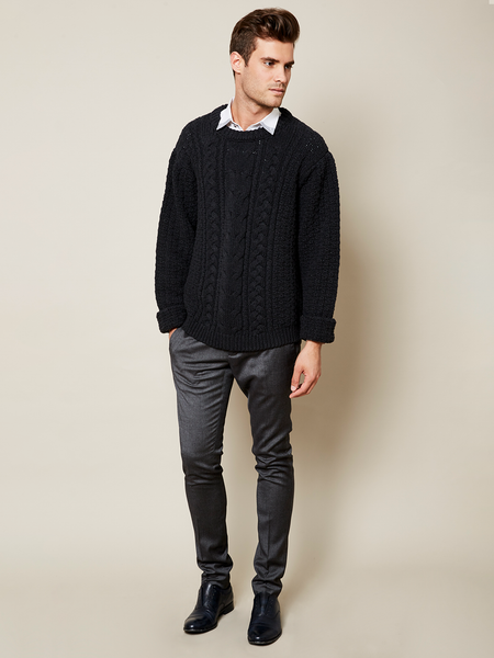 Preorder: The Aran Sweater in Black on Him