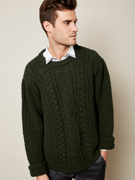 Preorder: The Aran Sweater in Forest and Cloud on Him