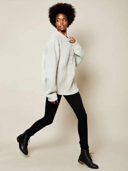 The Gender Neutral Aran Sweater in Cloud (2 left- XL)