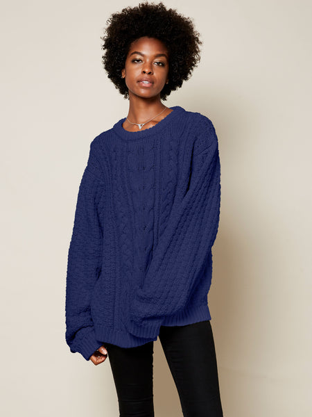 The Gender Neutral Aran Sweater in Cobalt