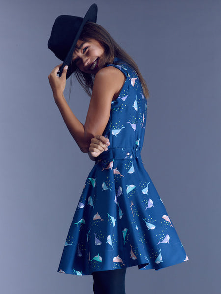 15% OFF: The Kelsey Dress - Whale Print