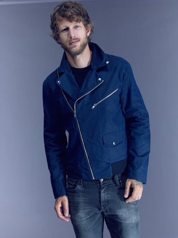 The James in Navy Waxed Canvas on Him: Ships Now 20% Off