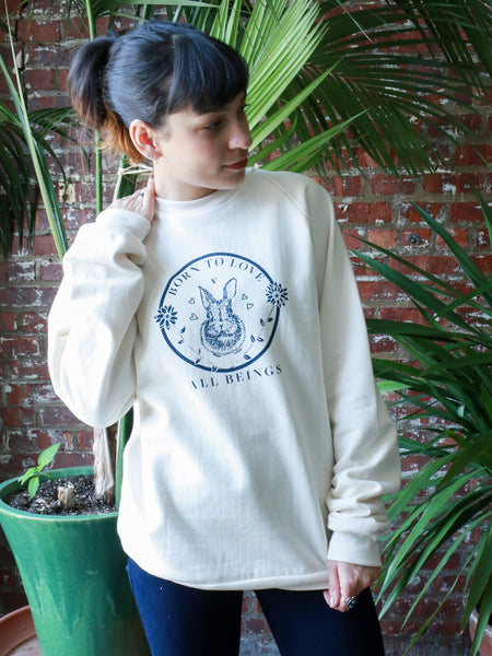 Born to Love All Animals Raglan Sweatshirt in Ivory [Benefit for Veg Youth]