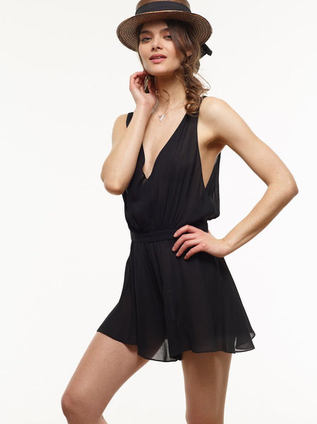 FINAL SALE: Christina Chiffon Romper in VAUTE Star Print and Black