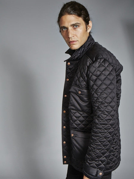 SALE: The Derek In Quilted - Cognac & Black (Insulated in Primaloft ECO)