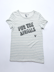 For the Animals Tee in Eco Wheat Stitch Stripe