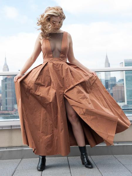 FINAL SALE: The OLIVER Gown in Satin - Gold
