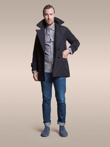 PREORDER 25% OFF: The Classic Vaute Peacoat on Him in Black, Mustard, and Cherry