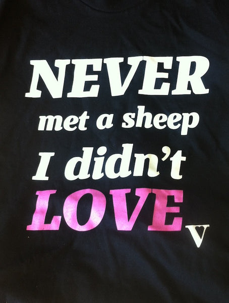 Never Met a Sheep I Didn't Love Organic Tee in Black [Supporting Farm Sanctuary]