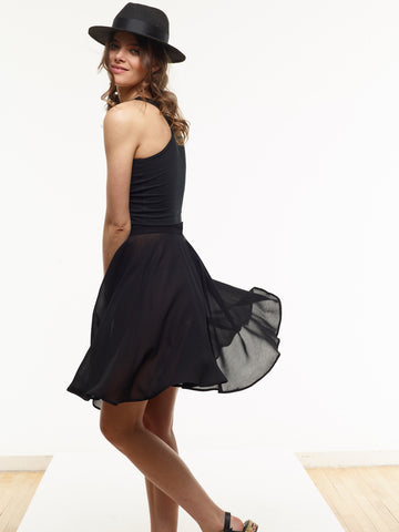 25% OFF: The Vegan Chiffon Reading Skirt in Black