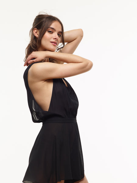 35% Off: Christina Chiffon Romper in Black