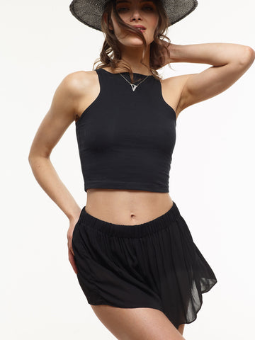 25% OFF: Molly Chiffon Shorts in Black