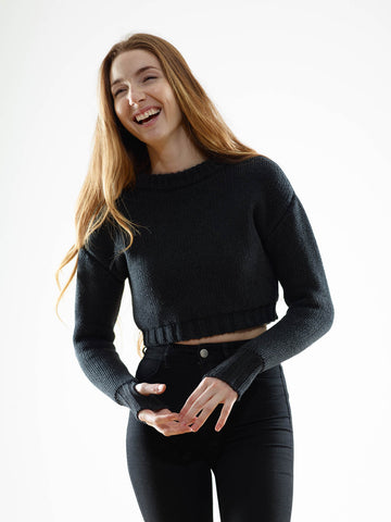 15% OFF: The Crop Sweater in Black