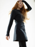 A LINE WAXED SKIRT - BLACK