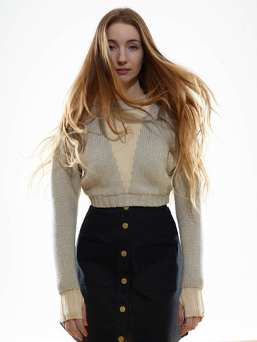 15% OFF: The Reversible Crop Sweater in Cloud/Ivory