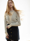 The Reversible Crop Sweater in Cloud/Ivory