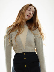 25% OFF: The Reversible Crop Sweater in Cloud/Ivory