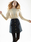 FINAL SALE: A LINE WAXED SKIRT - BLACK