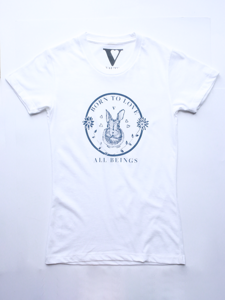 Born to Love All Animals Tee in White [Benefit for Veg Youth]