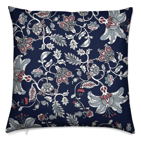 Midnight Garden Velvet Cushion (Navy)