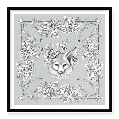 Fennec Florals Grey Framed Art Print