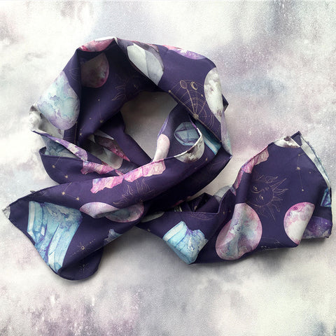 'Dark Cosmos' Long Silk Tencel Scarf