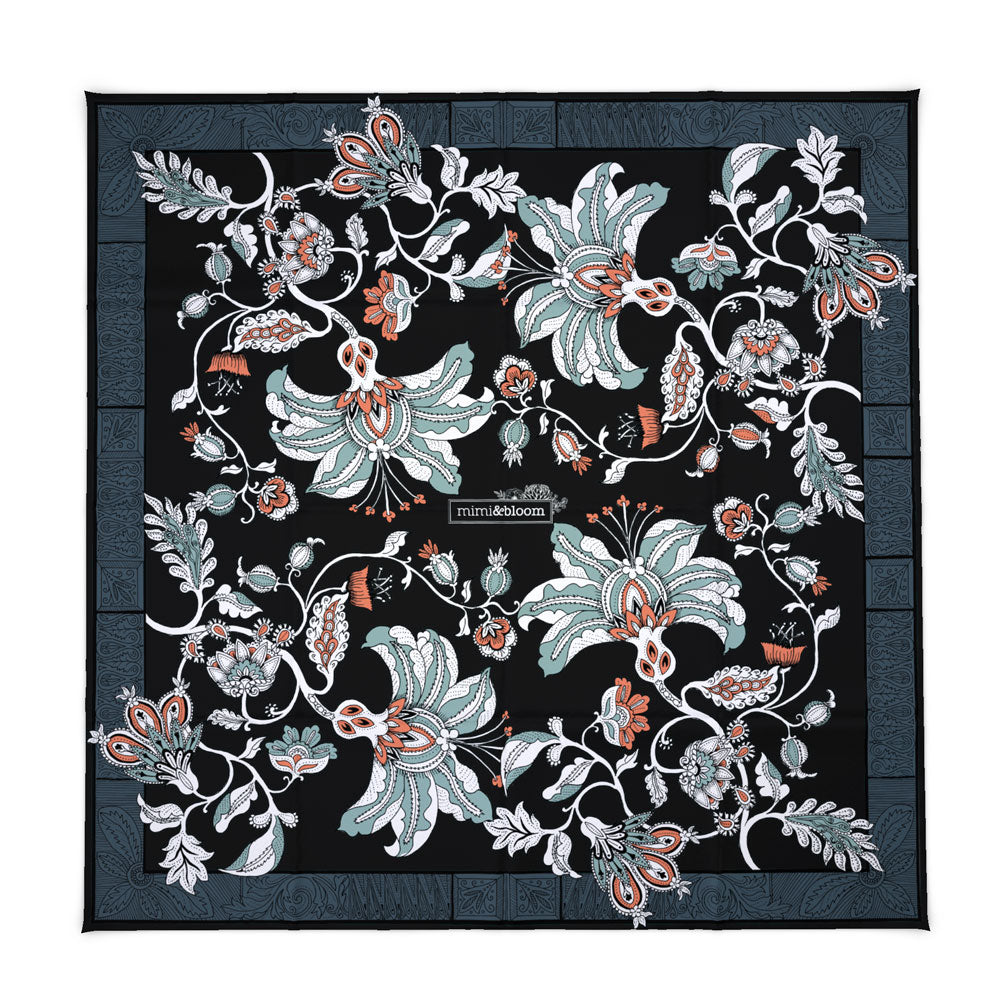 'Midnight Garden' Silk Tencel Scarf (Black)