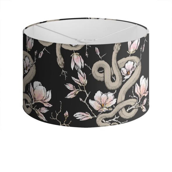 Magnolia & Serpent Drum Lampshade