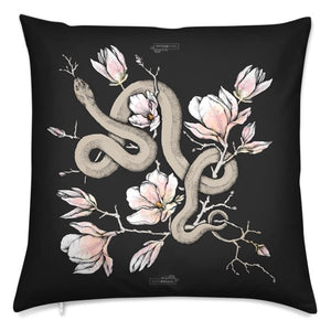 Magnolia and Serpent Velvet Cushion
