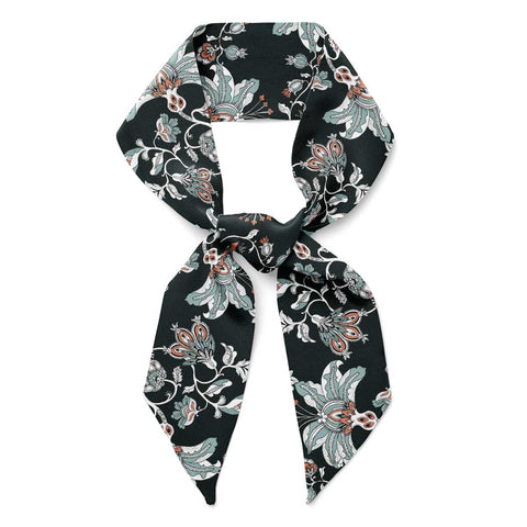'Midnight Garden' Silk Tencel Skinny Scarf (Black)