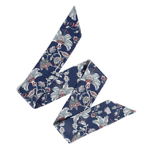 'Midnight Garden' Silk Tencel Skinny Scarf (Navy)