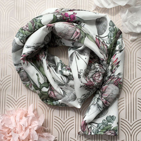 'Protea Bouquet' Long Silk Tencel Scarf