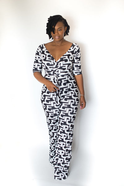 "PRINT V-NECK OFF THE SHOULDER""KIKI' JUMPSUIT"
