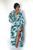"LONG PLUNGE V-NECK ""MIMI"" GREEN FLORAL DRESS"