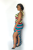 "STRIPED COLORFUL ""CANDI"" DRESS WITH SNAPS"